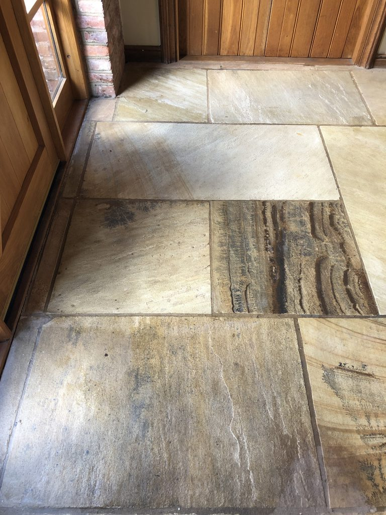 A sandstone floor in Kenilworth after cleaning